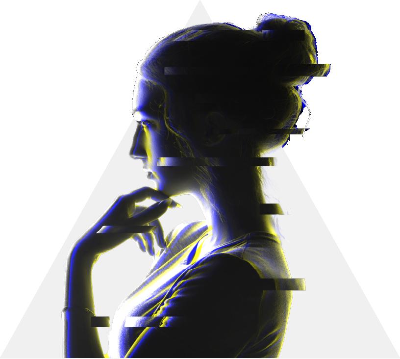 Eine Frau im Cyberstil vor einem weißen Dreieck.