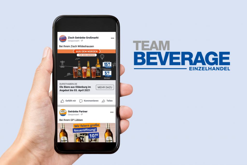 Ein Handy mit der Werbung von Team Beverage